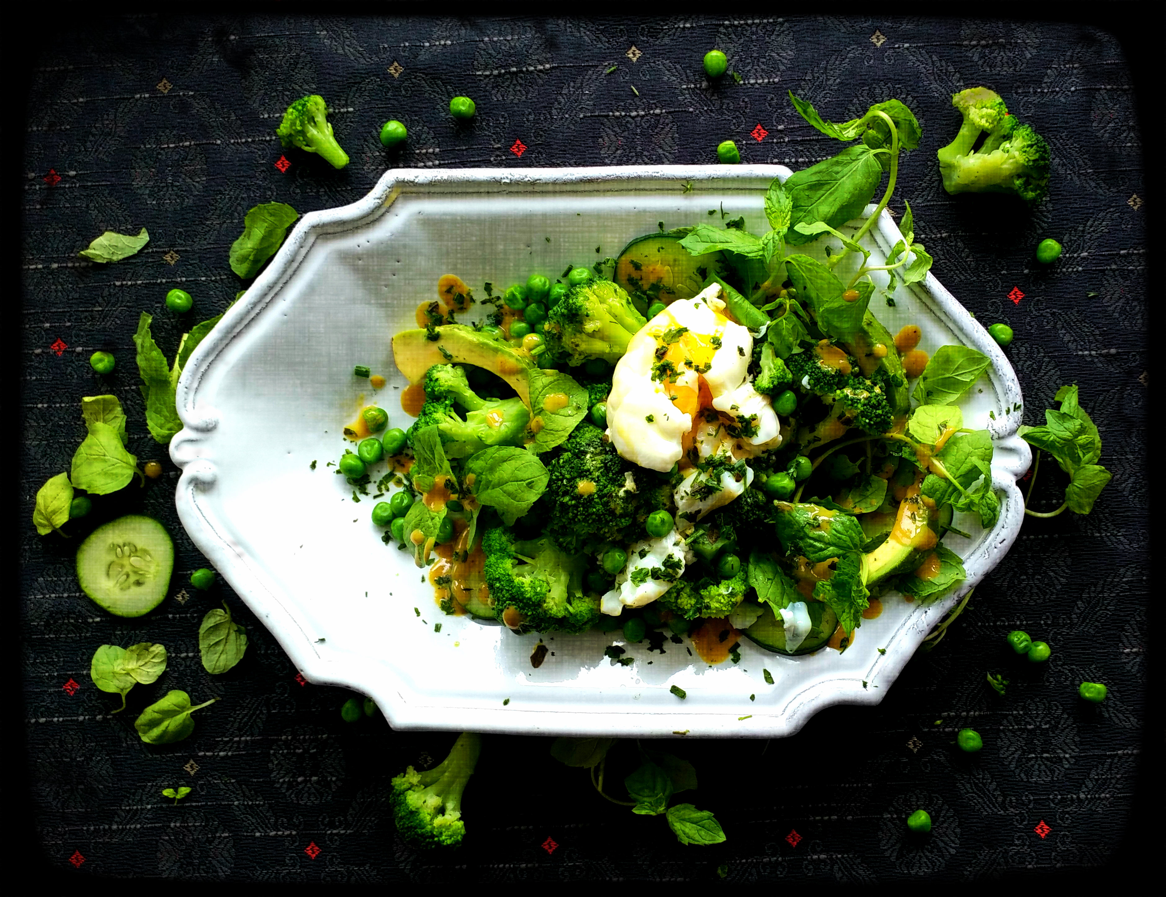 Drenched in Green with Poached Egg